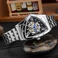 Relojes mecánicos triangulares huecos relojes de pulsera de acero inoxidable para hombre relojes de marca de moda para hombre ¡envío directo!
