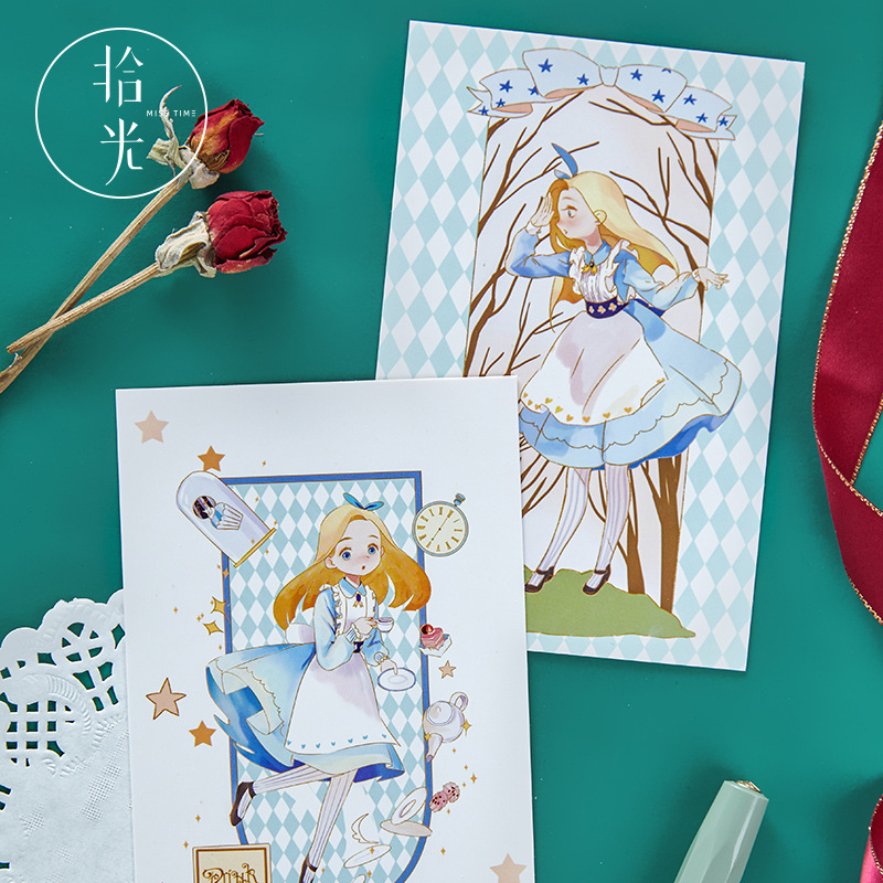 30 Sheets/Set Lovely Rabbit And Alice Postcard Beautiful Girl Illustration Greeting Cards Xmas And New Year Gift