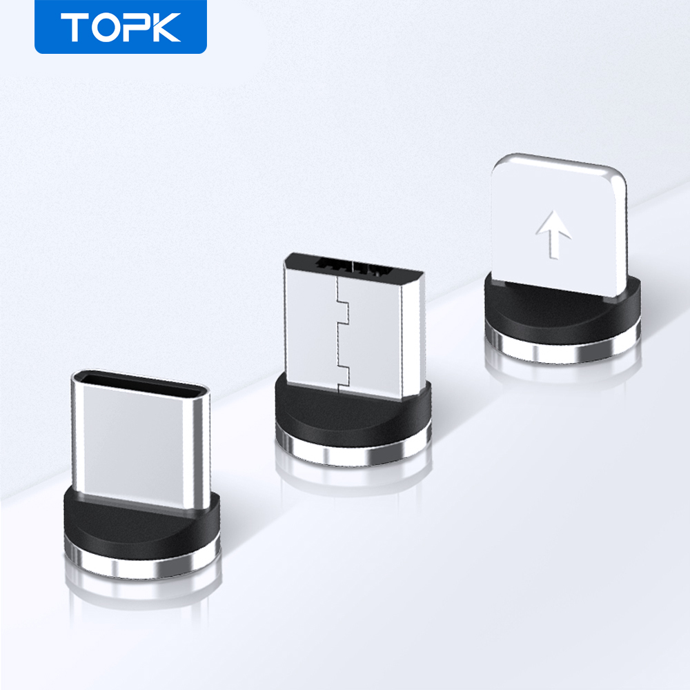 TOPK Magnetic Plug Micro USB / Type C / 8 Pin Adapter USB Plug (Only Magnetic Plug)|Mobile Phone Cables|   - AliExpress