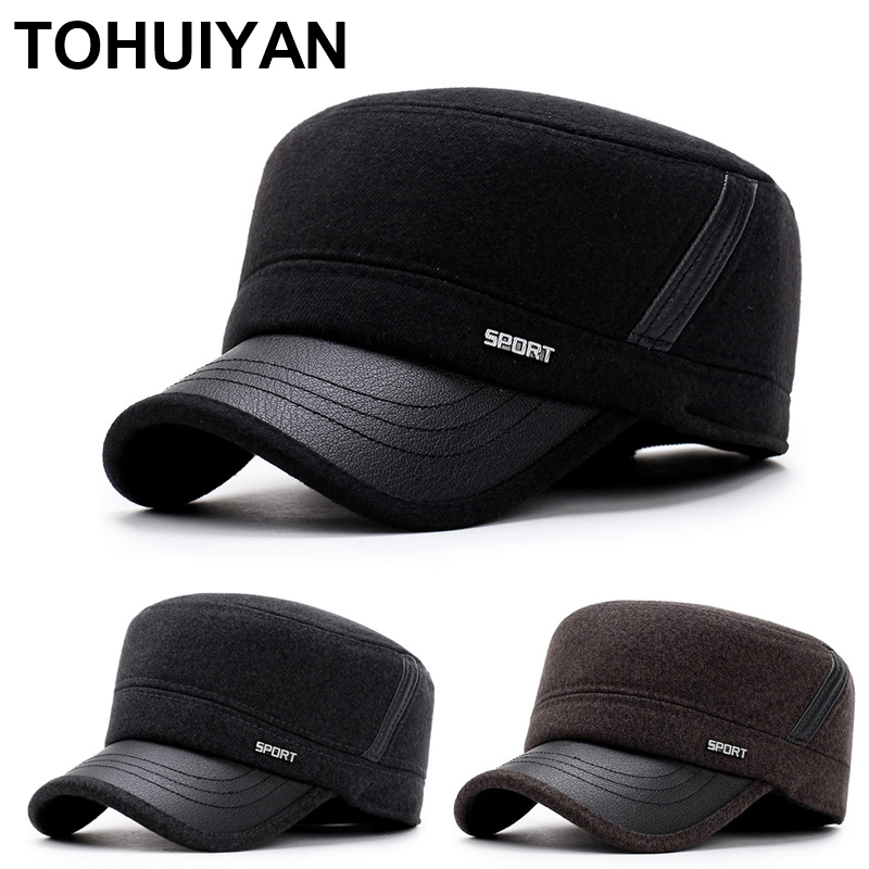 TOHUIYAN Classic Woolen Military Hat Vintage Flat Top Caps Winter Warm Earflap Hats Men Army Cap Fashion Adjustable Cadet Hats