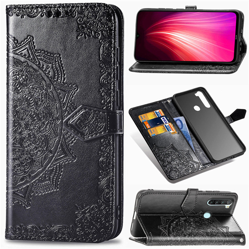 leather Embossed Flip Case For xiaomi redmi note 8 pro 8t 8a 7 7a xiomi mi note 10 a2 lite a3 9 se 9t poco f1 wallet book Cover image