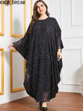Saiba sonho plus size saia feminina listrado impressão hit cor costura bat manga comprida casual muçulmano árabe saia longa