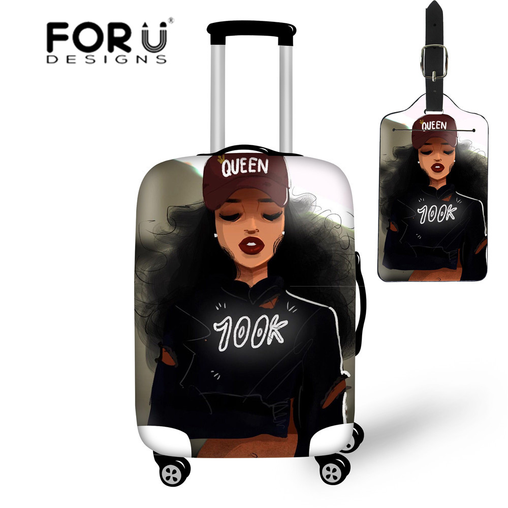 FORUDESIGNS Stretch Luggage Protective Covers Women African Girls Black Art Dustproof Travel Suitcase Bag Elastic Baggage Cover