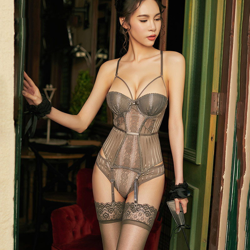 QunQue New High Elasticity Corset Bustier With Cup Girdle Set With Straps Belt Breathable Fabric Lingerie Gray Corset Dress 2019