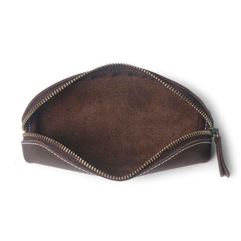 Handmade Genuine Leather Pencil Bag Vintage Retro Style Cowhide Zipper Pen Case School Bag Glasses Case Office Stationery Gift
