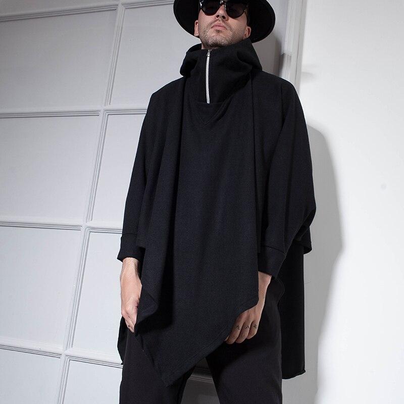 Winter Fashion Men's coat Cape Cape Cape Cape Cape Cape Long Woolen cloth student Coat Cape Coat coat Hoodie