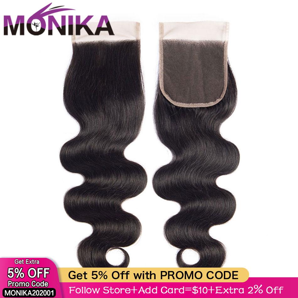 Monika Brazilian Body Wave Closure Cheveux Human Hair Closure Piece 4x4 Lace Closure Hair Free/Middle/3 Part Closures Non-Remy