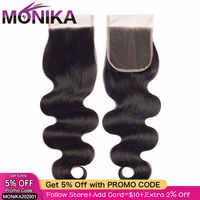 Monika brésilien corps vague fermeture Cheveux fermeture de Cheveux humains pièce 4x4 dentelle fermeture Cheveux libre/moyen/3 partie fermetures non-remy