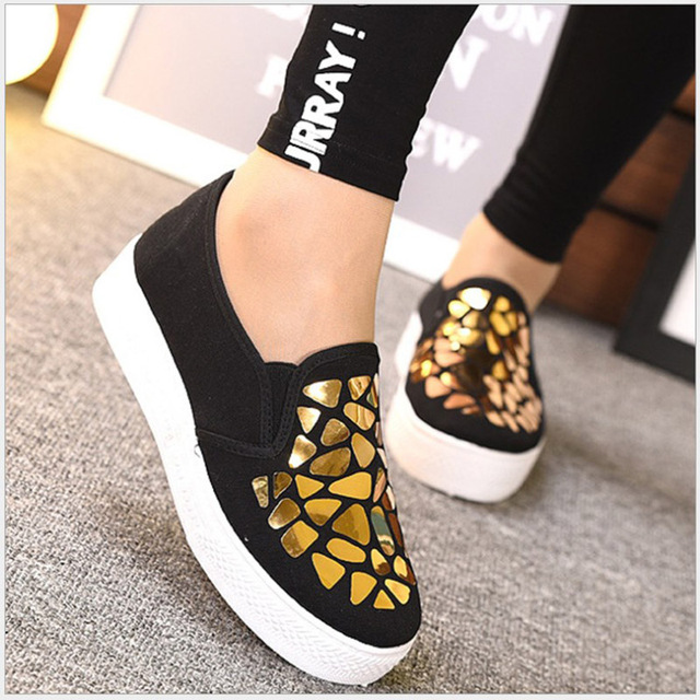 LASPERAL 2019 Fashion Women Loafers Vulcanize Shoes Canvas Sequins Sneakers Shoes Ladies Slip On Breathable Shallow Casual Shoes