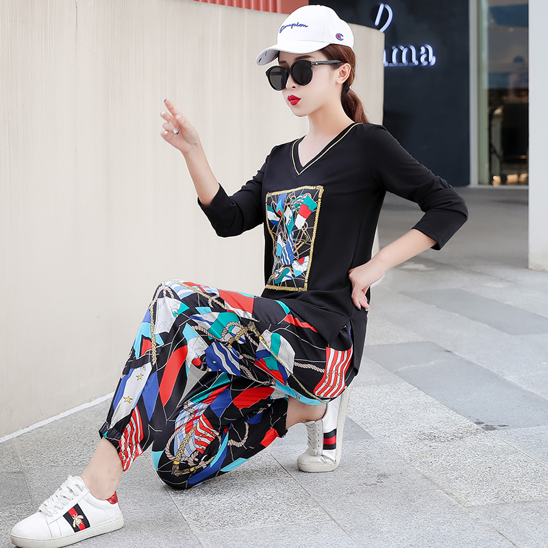 Plus Size 2019 Autumn Printed Casual Two Piece Sets Outfits Tracksuits Women V-neck Tops And Harem Pants Suits Korean Sets Suits 27