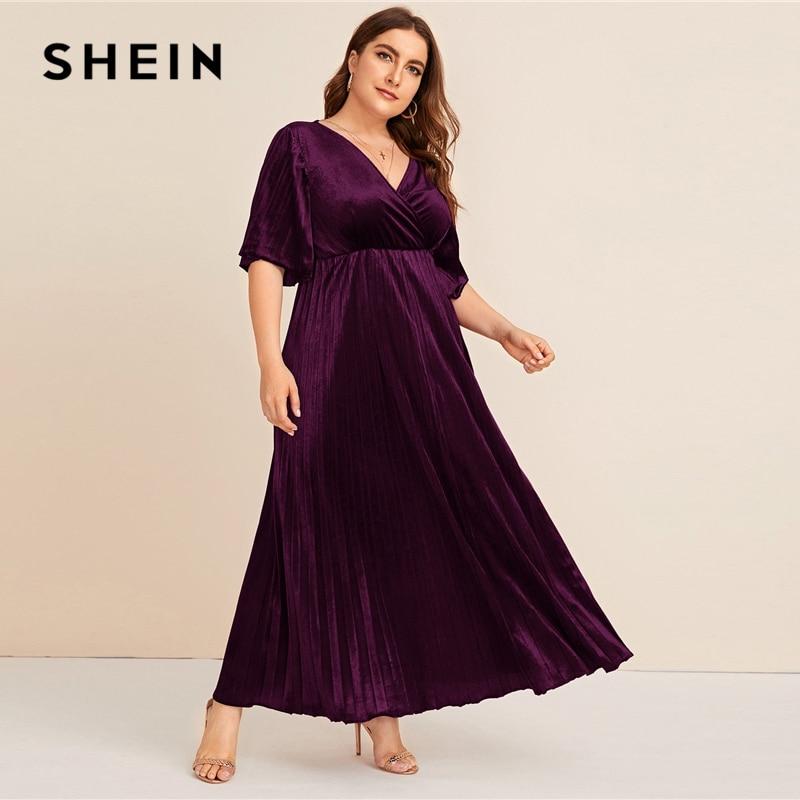 SHEIN Plus Size Flutter Sleeve Pleated Velvet Dress Women Autumn Winter V Neck A Line Empire Glamorous Party Maxi Dresses 2