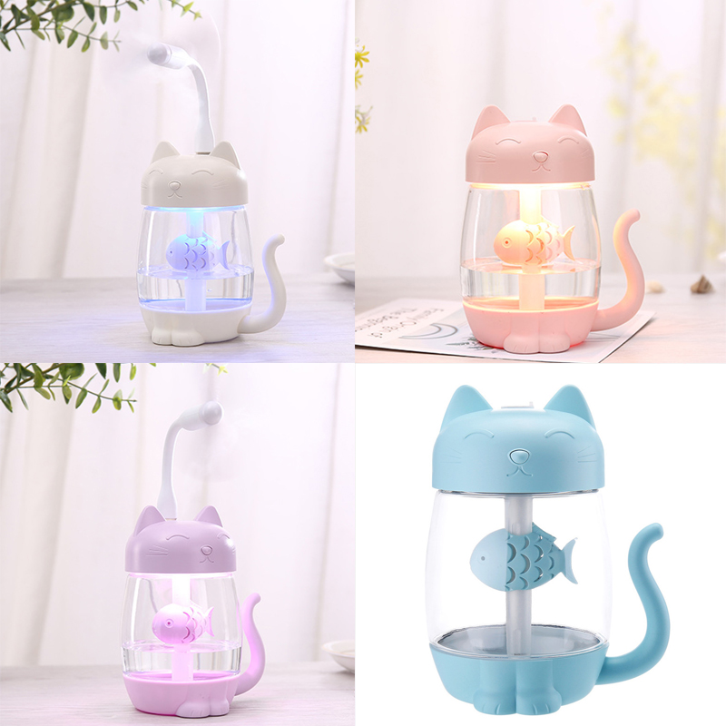 350ML USB Cat Air Humidifier Ultrasonic Cool-Mist Adorable Mini Humidifier With LED Light Mini USB Fan For Home Office