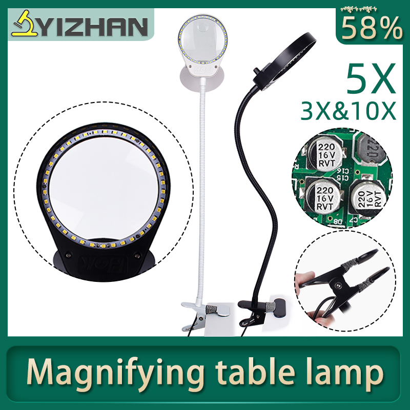 USB 5X 3X 10X Illuminated Flexible adjustment LED Magnifier Lamp for Soldering Iron Repair Skincare Beauty Tool Table Lamp