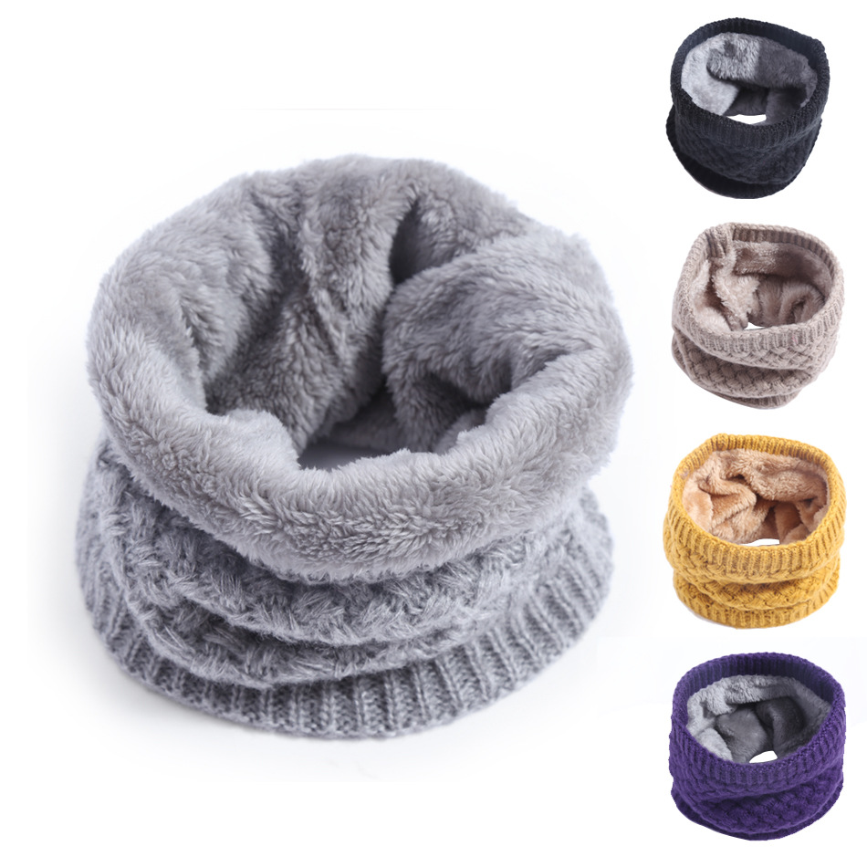 Men And Women Couples Versitile Fashion Korean-style Brushed And Thick Pullover Winter Warm Yarn Knitted Scarf Case Children