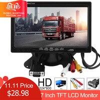 1024x600 7 Inch Ultra Thin TFT LCD HD Monitor Audio Video AV Car Home Monitor Bright Color with VGA Interface