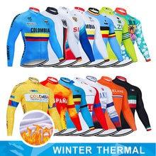 Nacional inverno velo térmico pro equipe roupas de ciclismo mtb uniforme ropa ciclismo dos homens longo bicicleta camisa