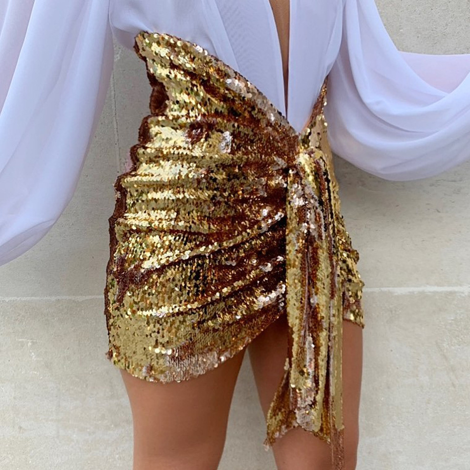 Sexy Mini Skirts Sequined Bodycon Party Clubwear Glitter Gold Black With Sashes Women Night Out Tight Jupes Saias 2020 New Falda