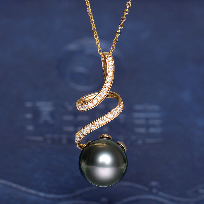YS 18K Solid Gold Au750 Gold Pendant 10 11mm Natural Saltwater Tahitian & South Sea Pearl Pendant Necklace - 5