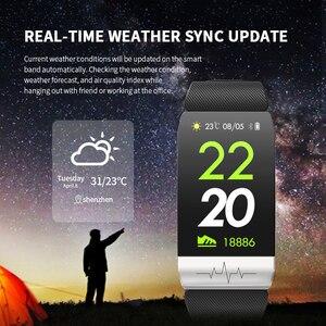 Image 4 - Lerbyee t1 rastreador de fitness temperatura do corpo ecg pulseira inteligente monitor de freqüência cardíaca relógio inteligente controle música esporte 2020 das mulheres dos homens