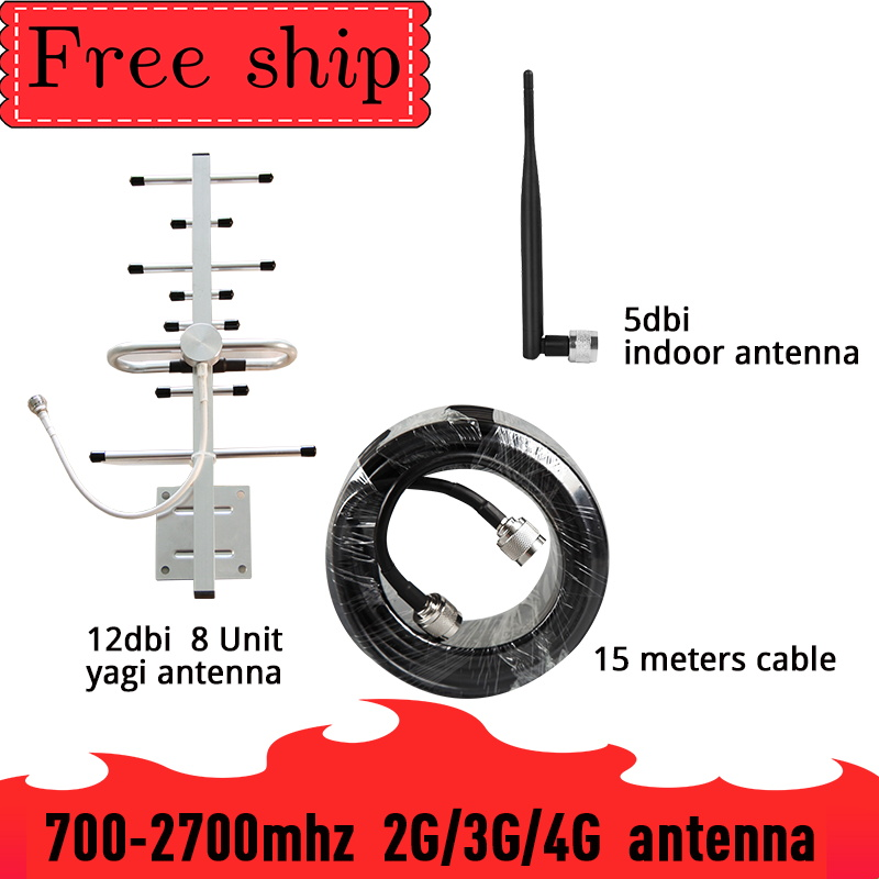 700-2700mhz 12dbi Gain Outside Yagi Antenna  CDMA UMTS GSM LTE DCS For Cell Phone SIGNAL Booster Repeater 2G 3G 4G Whip Antenna