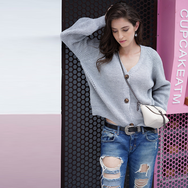 Knitted Cardigan Sweater Women 2019 Spring Simple Solid V Neck Clothing Sweater Fashion Warm Loose Outside Sweater Button