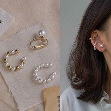 3Pcs/Set Elegant Pearl Ear Cuff Charming No Hole Clip on Earrings Ear Accessories Fake Piercing Minimalist Women Clips Jewelry
