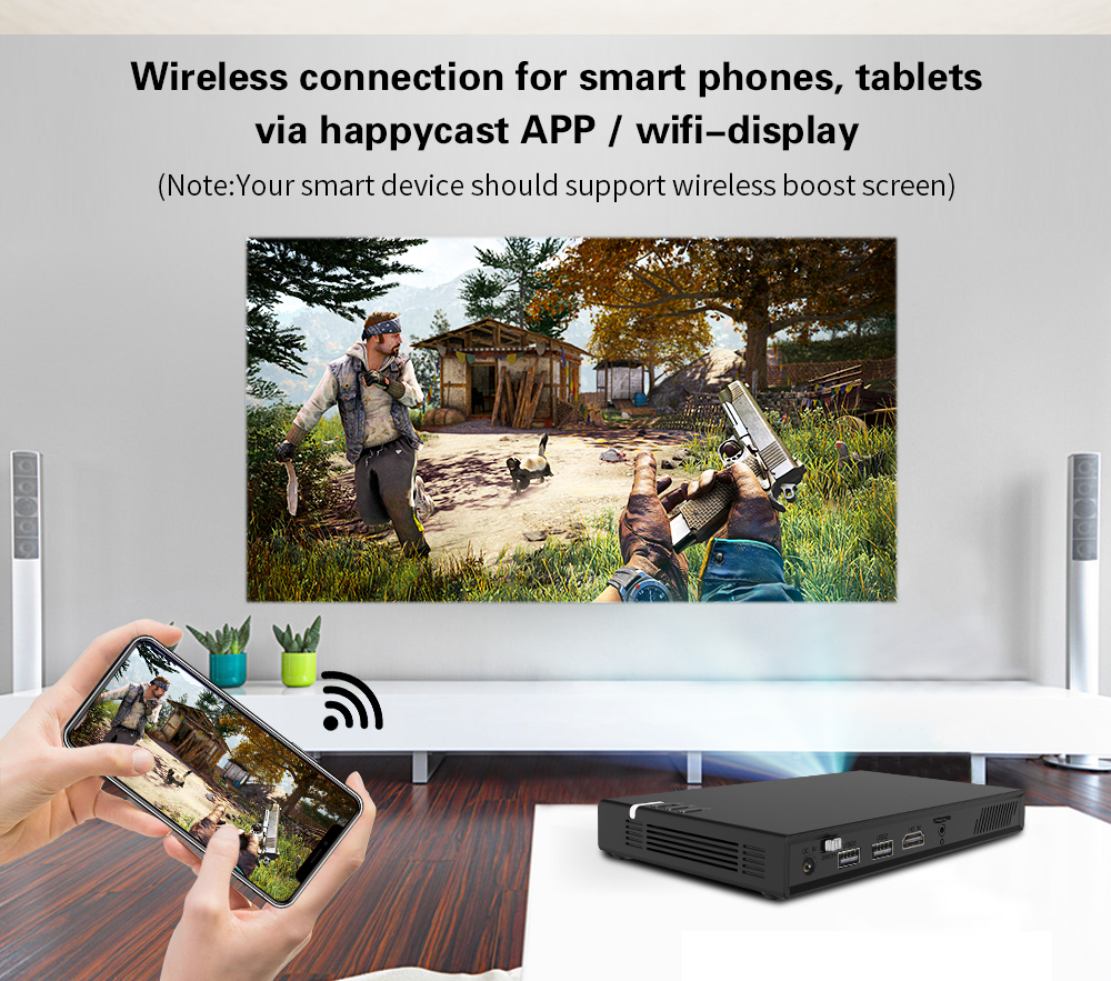 CRENOVA Wireless and Remote Control Mini Projector With Bluetooth and 16GB ROM 7