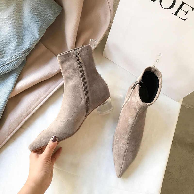 Socks boots women Transparent heel low heel ankle boots women Transparent PVC heel strap with rivet booties mujer shoes 2019