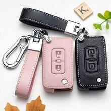 Custodia protettiva in pelle a 2 pulsanti per Auto proteggi per Mitsubishi Lancer 10 Outlander 3 Pajero sport Key Car Key Case