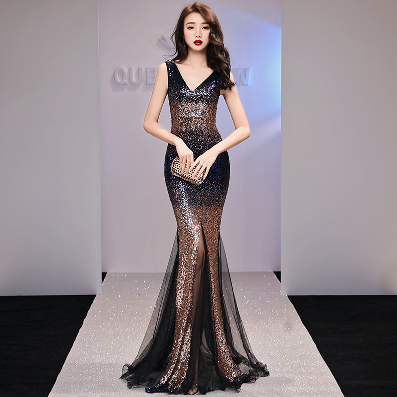 Evening Dresses Shining Sequins Mermaid Long Women Formal Dress V-Neck Zipper Elegant Party Gowns Sleeveless Robe De Soiree F217