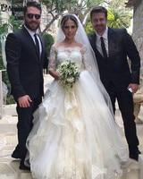 Princess Beaded Lace Ruffles Boho Wedding Gown Bride Half Sleeves Vestido De Noiva 2019 Dubai Arabic Muslim Wedding Dresses