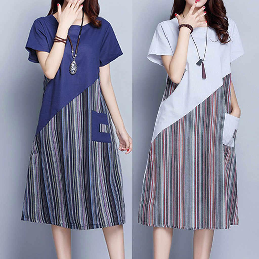 38 #2020 Vrouwen Mode Jurk Verliezen Plus Dame Casual Striped Patchwork Mid Lange Kleider Kurzarm A-lijn Kleid Mode Jurk