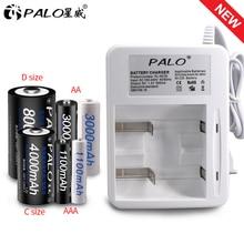 PALO yeni akıllı gösterge ışığı ekran pil şarj cihazı için ni cd Ni Mh AA/AAA/C/D boyutu şarj edilebilir pil kullanımı