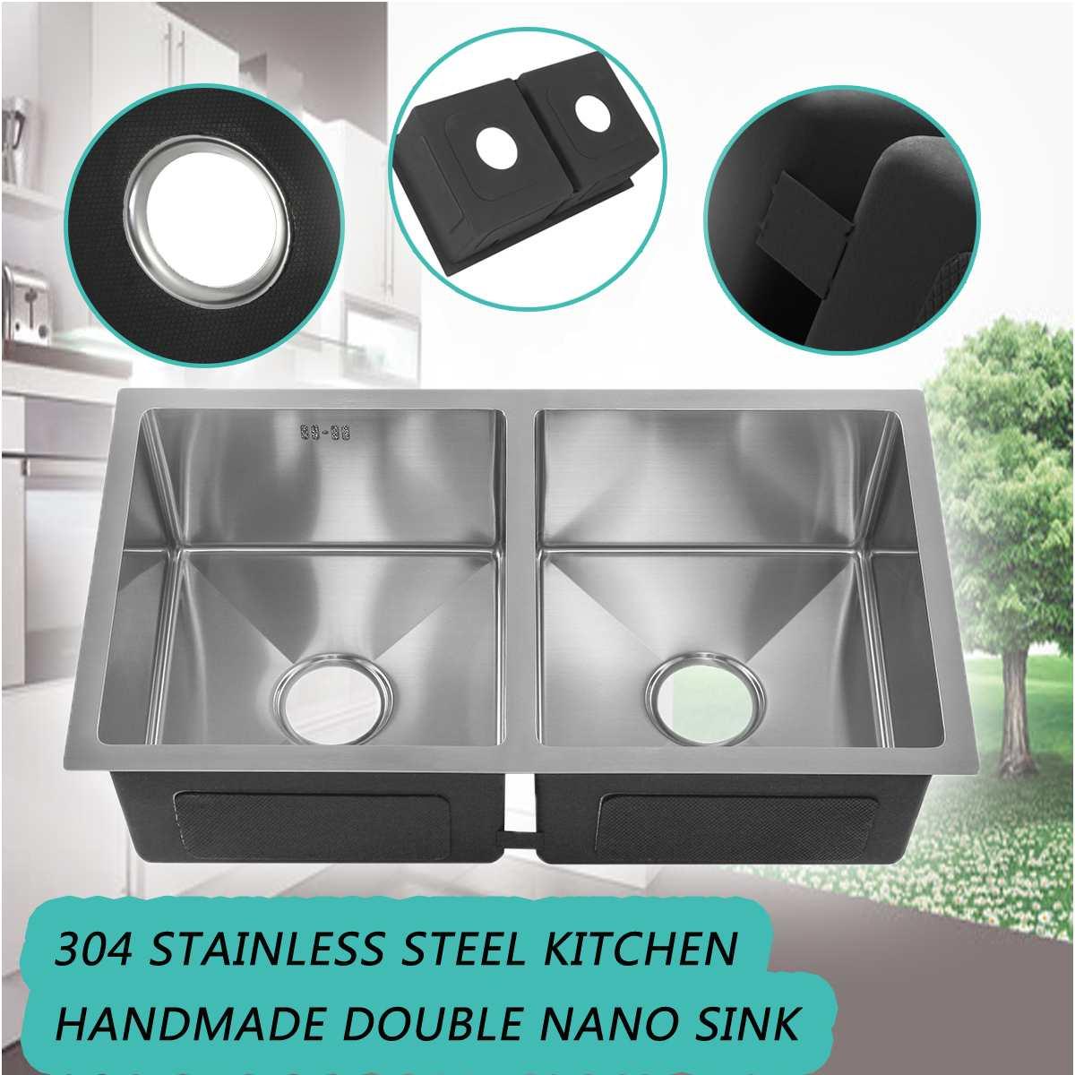 Évier de cuisine carré brossé en acier inoxydable Double bol processus de tréfilage sans soudure bassin de soudage plats 76x43x23cm