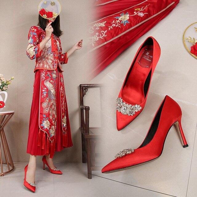 Фото женские красные свадебные туфли; изящные туфли на каблуке с цена
