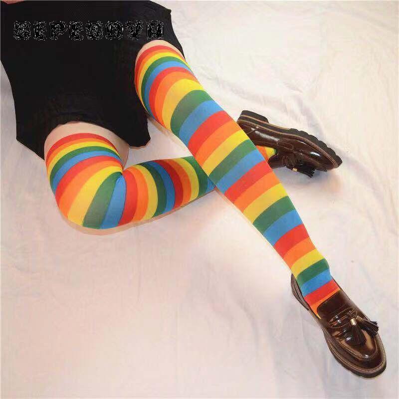 Женские разноцветные носки с радужным рисунком, сексуальные длинные женские модные женские носки до бедра в стиле Харадзюку