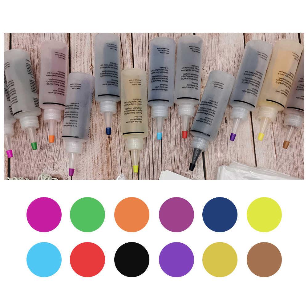 12 pièces Kit de teinture pour cravate Non toxique bricolage vêtement Graffiti tissu Textile peinture 120ml vêtements colorés Kit de teinture pour cravate ensemble de pigments