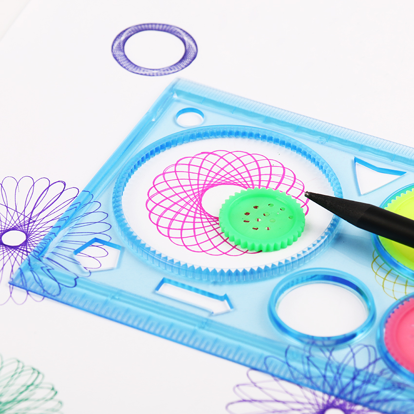 2 PCS Multifunctional Children Variety Spirograph Drawing Plastic Ruler Color Random