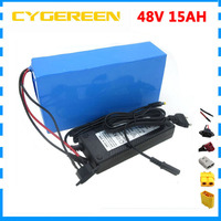 Rechargeable 500W 48V 15AH battery pack 750W 48 V 15AH ebike e scooter Lithium ion battery 20A BMS 2A Charger Free customs fee