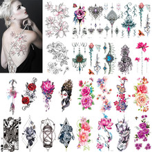 Rose Jewelry Water Transfer Tattoo Stickers Women Body Chest Art Temporary Tattoo Girl Waist Bracelet Flash Tatoos Flower