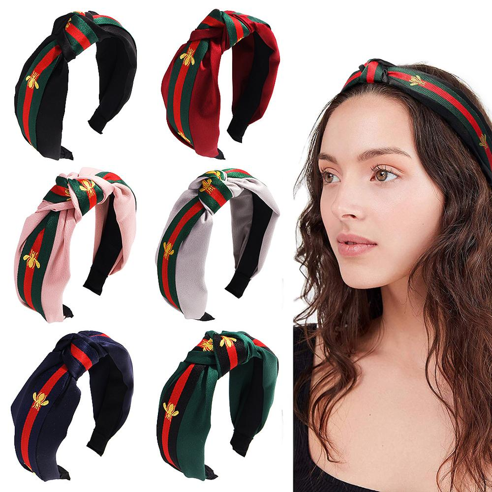 Yoga Running Sports Hairband Headband For Women Fashion Turban Striped Hair Band Bee Pattern Print Hair Accessories