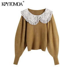 KPYTOMOA Women Sweet Fashion Patchwork Ruffled Knitted Sweater Vintage Peter Pan Collar Long Sleeve Female Pullovers Chic Tops
