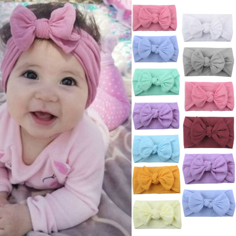 2019 Newborn Toddler Baby Girls Head Wrap Rabbit Big Bow Knot Brand New Turban Headband Hair Accessories Baby Gifts For 0-2Y