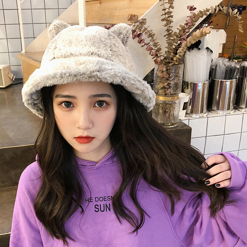 SAGACE Ladies Frozen Age Girl Hat Playful Cute Autumn Winter Plush Cartoon Cat Basin Hat Fisherman Hat Popular Temperament Good