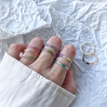 AOMU 1 zestaw Korea 2020 Chic kolorowe przezroczyste żywiczne pierścienie akrylowe Hot Morandi kolor kobiety Party biżuteria zestaw pierścieni tanie i dobre opinie Brak Żywica Śliczne Romantyczny Zespoły weselne ROUND 2 5mm Wszystko kompatybilny Fitness tracker Nastrój tracker ring
