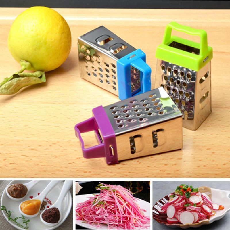 4 pièces Mini rabot à quatre faces cuisine multifonction légume alimentaire inox rabot quatre faces râpe couleur aléatoire chaude