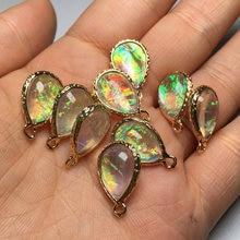 Gota de água natural opala pingentes & colar arco-íris charme para fazer jóias diy colar acessórios