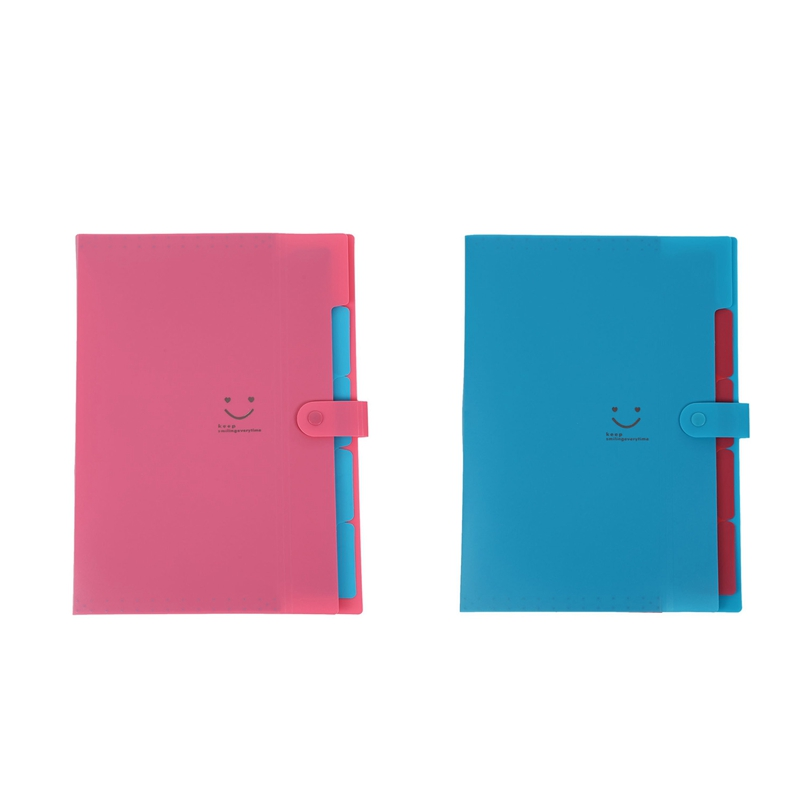 2Pc Plastic Expanding File Folders Accordion Document Organizer 5-Pocket A4 Letter Size For School And Office Lake Blue & Rose R