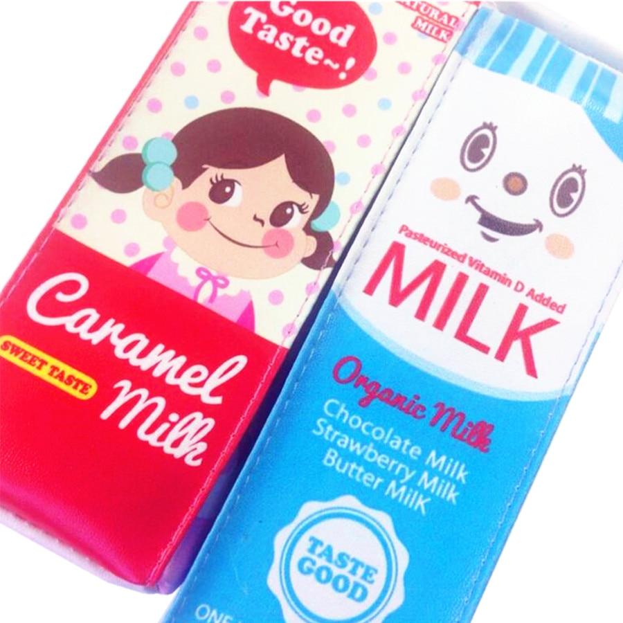 10pcs/lot Milk Box Design Stationery Bag Pencil Bag Storage Bag Pencil Box Zipper Pencil Bag Student Office Supplies Wholesale
