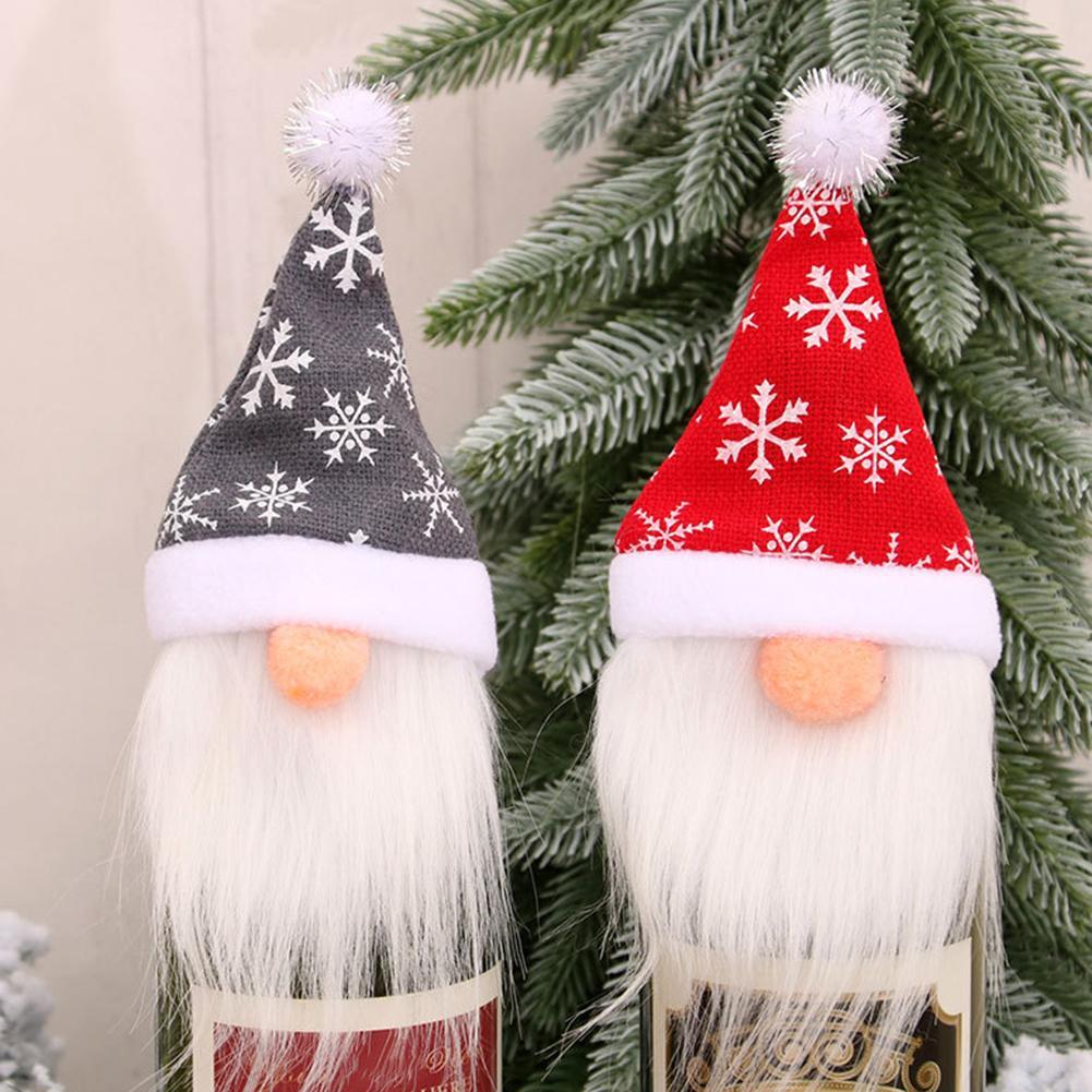 Christmas Adorable Santa Claus Gnome Decor Hat Wine Bottle Cover For Xmas Party Decor, Christmas Ornament